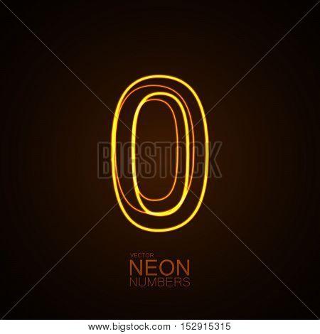 Neon 3D number 0. Typographic vector element for design. Part of glow neon alphabet. Digit zero. Vector illustration