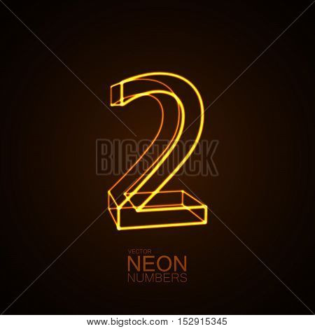 Neon 3D number 2. Typographic vector element for design. Part of glow neon alphabet. Digit two. Vector illustration