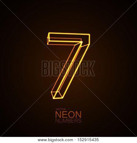 Neon 3D number 7. Typographic vector element for design. Part of glow neon alphabet. Digit seven. Vector illustration