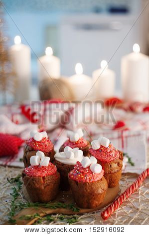 New Year celebration cupcakes, chocolate muffins on the table