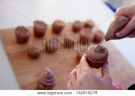 celebration cupcakes, chocolate muffins on the table