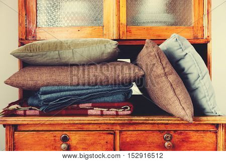 Pillows Lie Buffet House Furniture Storage Retro