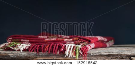 Red Tartan Bright Plaid On Dark Background