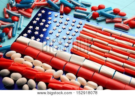 USA flag made of different candies, closeup
