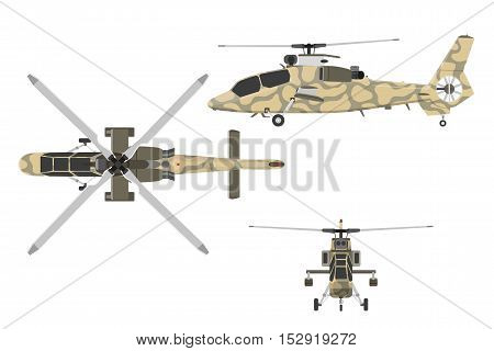 Military helicopter in flat style. Helicopter views: top side front. Vector illustration