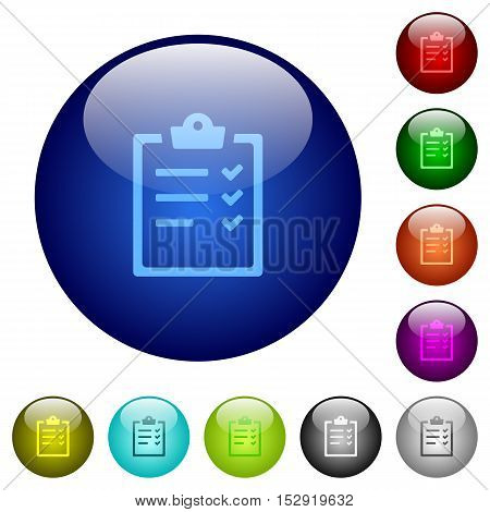 Task list icons on round color glass buttons