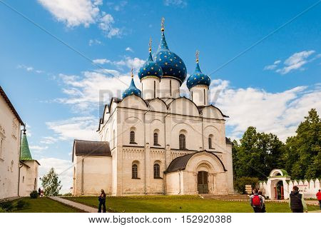 SUZDAL RUSSIA - JUNE 6 2015: View of the Suzdal Kremlin Russia. Golden ring of Russia