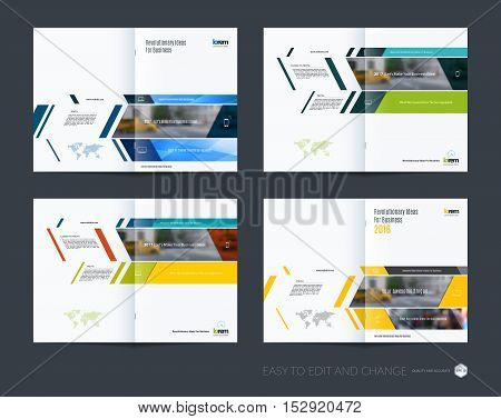 Brochure template layout collection, cover design annual report, magazine, flyer in A4  with banners and diagonals for business, building, consulting. Abstract vector design set