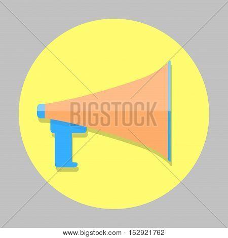 Megaphone color icon. Megaphone speaker megafone for shout and communication. Vector illustration
