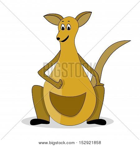Cartoon kangaroo illustration. Kangaroo vector cartoon with pouch