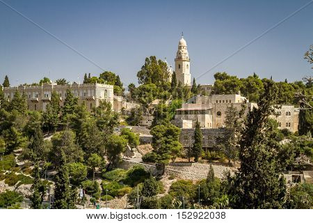 The Dormition Abbey and the Institute for the Study of the Bible, outside the walls of the Old City in Jerusalem, Israel