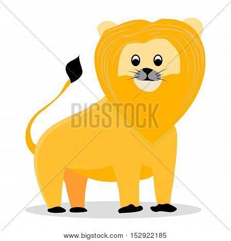 Lion cartoon vector. Lion isolated on white background illustration