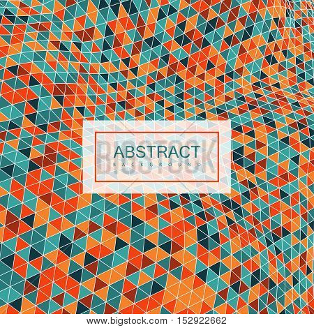 Abstract polygonal distorted background with colorful triangulation. Vector illustration. Applicable for cover, placard, brochure, flyer, banner design