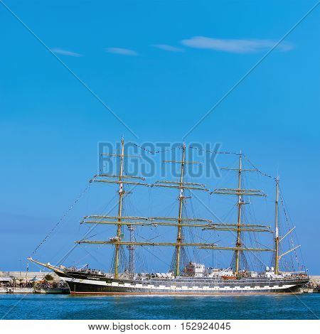 VARNA BULGARIA - OKToBER 02 2016: Four-Masted Barque Kruzenshtern at SCF Black Sea Tall Ships Regatta in the Port of Varna