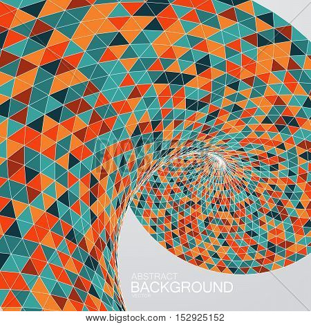 3d abstract polygonal twisted background with orange triangulation. Vector geometric illustration.