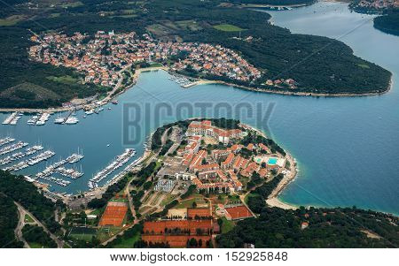 Aerial view of Croatia coastline from above