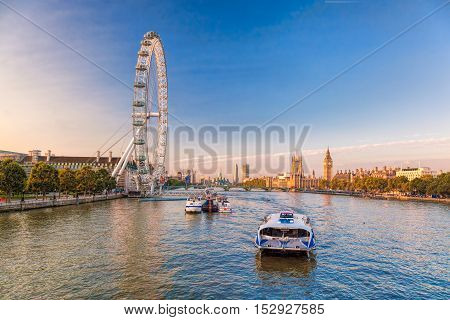 Sunrise With Big Ben, Palace Of Westminster, London Eye, Westminster Bridge, River Thames, London, E