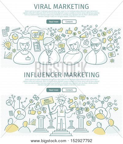 Set of marketing vector web banners. Flat design. Viral and influencer marketing concepts. People information connections. Two color line art vector. Authoritative expert. For marketing companies ad