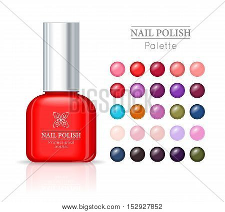 Nail polish pallet. Women accessories nail collection with logo. Bright stylish modern colors. Glamour cosmetics. Manicure and pedicure products. Part of series of decorative cosmetics items. Vector