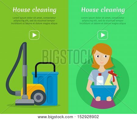 Set of cleaning service web banners. Flat style. House cleaning vector concepts with woman, vacuum cleaner and household chemicals. Illustration with play button for housekeeping online services