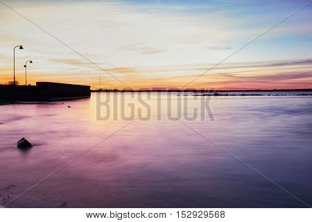 Pink Afterglow. Beautiful View In Baltic Sea