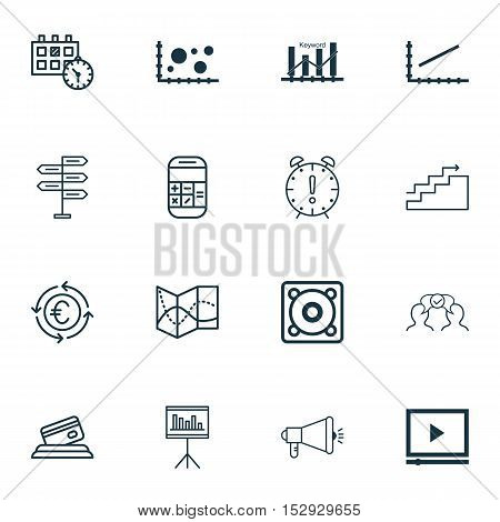 Set Of 16 Universal Editable Icons For Statistics, Tourism And Marketing Topics. Includes Icons Such