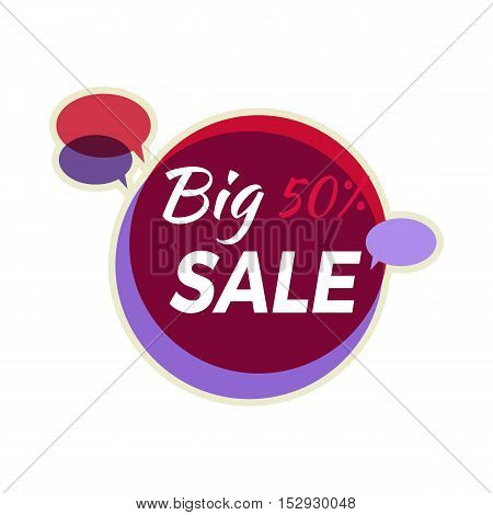Sale sticker vector illustration. Flat style. Round bright sticker with big sale text and speak clouds. For store sale and discount advertising. Product label design. Black friday. On white background