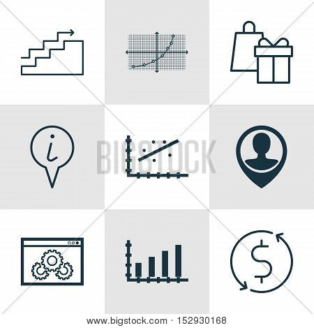 Set Of 9 Universal Editable Icons For Statistics, Project Management And Travel Topics. Includes Ico