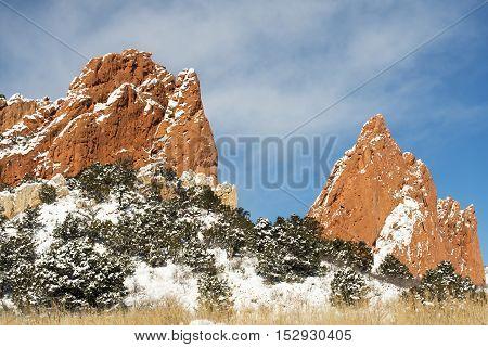 Winter at the Garden of the Gods Park in Colorado Springs Colorado