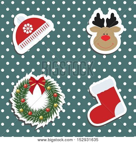 Set a festive children's Christmas stickers. New year collection of label templates and decals for decorating greeting or gift. There is a winter hat deer head Rudolph wreath and socks. Baby vector illustration.