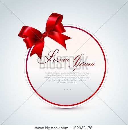 Round gift card with red satin bow. Vector illustration.