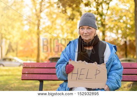 Homeless Or Poverty Stricken Elderly Lady