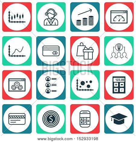 Set Of 16 Universal Editable Icons For Statistics, Travel And Hr Topics. Includes Icons Such As Stoc