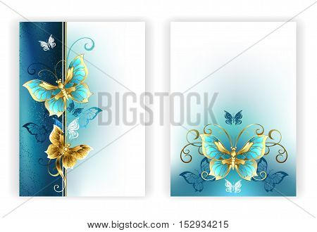 Design for brochure with luxury jewelry gold butterflies on a light turquoise and textural background. Golden Butterfly.