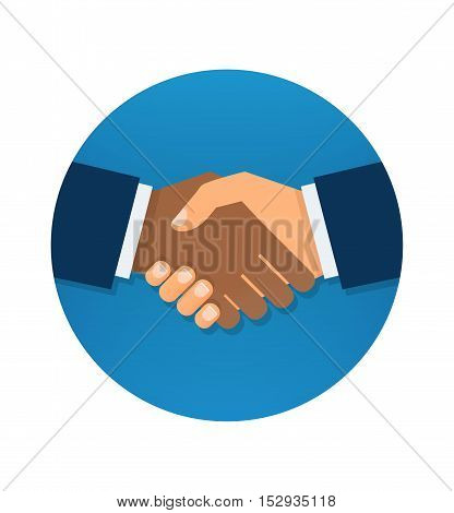 Circle blue icon handshake. Partners icon. Handshake icon. Success deal. Shaking hands. Background for business and finance.