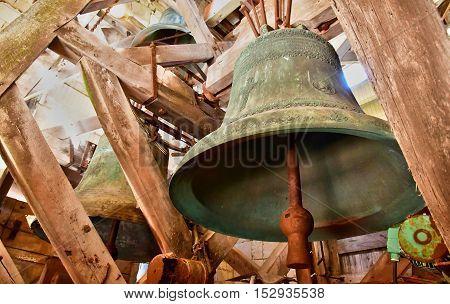 Saint Martin de Re France - september 25 2016 : the bells of Saint Martin church