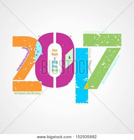 Sfondo 2017 con augurio in diverse lingue