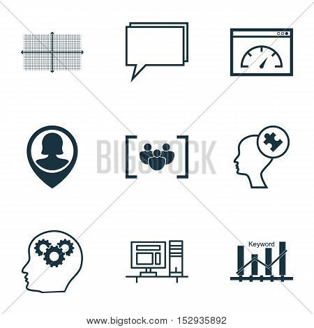 Set Of 9 Universal Editable Icons For Seo, Advertising And Statistics Topics. Includes Icons Such As