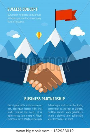 Businessman hands shaking together for agreement success. Landscape with flag on the mountain. Success concept illustration. Vector illustration