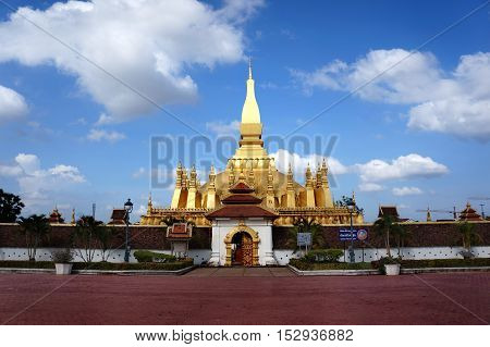 Pha That Luang is a gold-covered large Buddhist stupa and be the most important national monument in Laos and a national symbol .Vientiane, Laos.