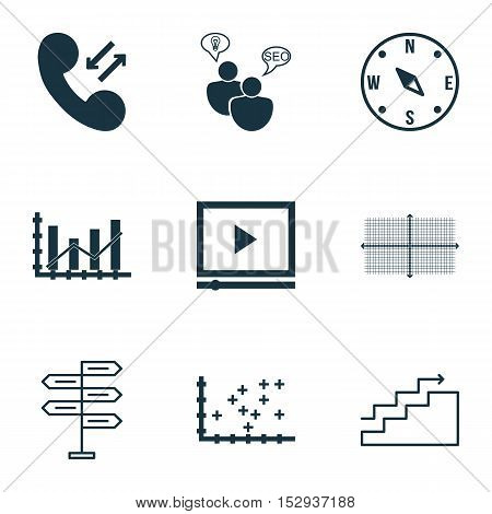 Set Of 9 Universal Editable Icons For Project Management, Traveling And Statistics Topics. Includes