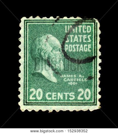 USA - CIRCA 1938: a stamp printed in the United States of America shows portrait of the James A. Garfield, 20th president of USA 1881, circa 1938
