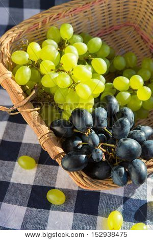 Green and black grapes with leaves, rustic style, black backgrou