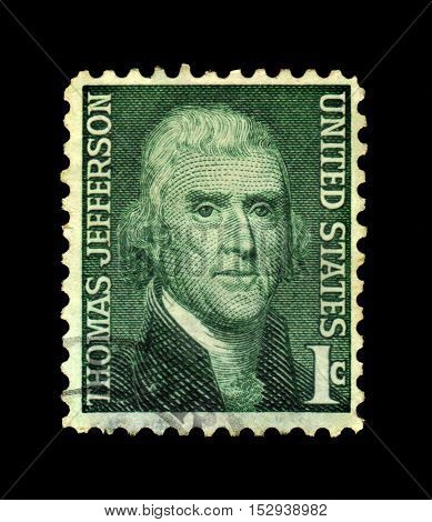 USA - CIRCA 1968: a stamp printed in the United States of America shows Thomas Jefferson, third President of the United States, circa 1968