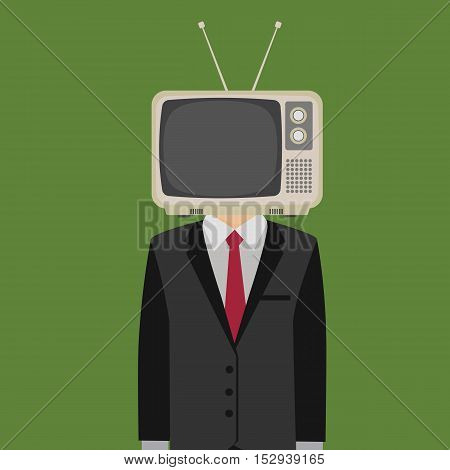 The Mind Control My Media Illustration, People with television in his head, tv head