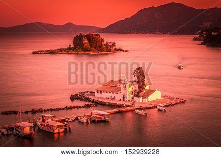 Mouse Island, Corfu, Greece. Vlacherna Monastery on the Kanoni peninsula in Corfu.