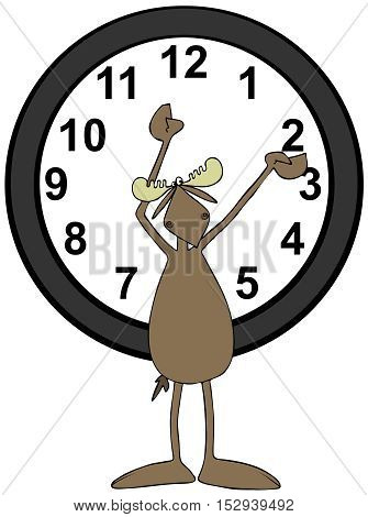 Illustration of a bull moose pointing to the 12 and 2 on a large clock behind him, indicating when to set your clocks for daylight savings time.