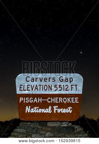 Carvers Gap Sign On Starry Night