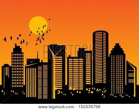 City megapolis skyline at sunset, vector illustration