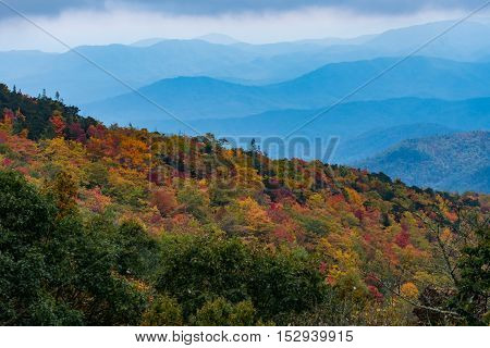 Changing Leaves With Layers Of Appalachian Mountains